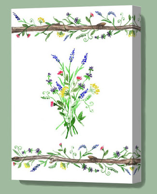 wild flowers bouquet and vines on the wooden stick