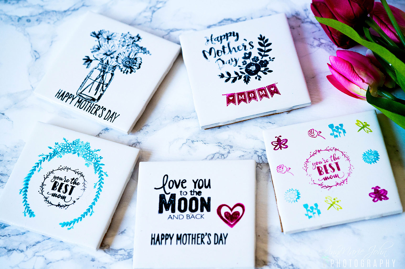 DIY Stamped Mother's Day Tile Coasters