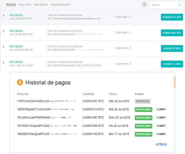 Resultado de imagen para cryptotab COMPROBANTE DE PAGO