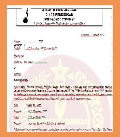 Download Surat Izin Orang Tua Siswa Untuk Mengikuti Perkemahan