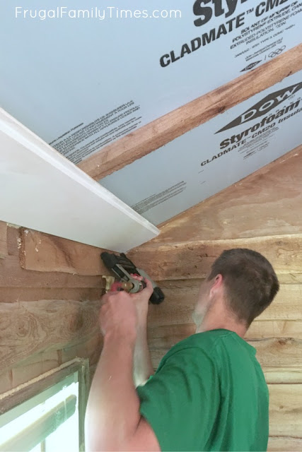 shiplap ceiling nail in place