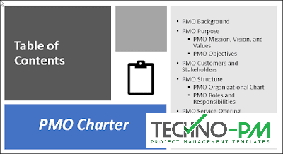 PMO Charter Table contents, PMO Charter, PMO Charter Template