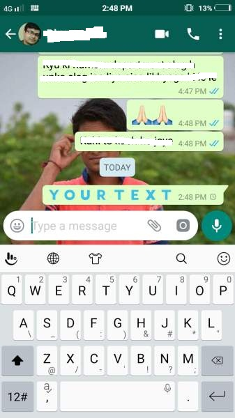 how to send colorful text to whatsapp contacts