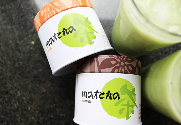 Peach & Chocolate Flavoured Iced Matcha Lattes with Adagio Teas