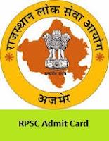 RPSC Vice Principal, Suprintendent Admit Card