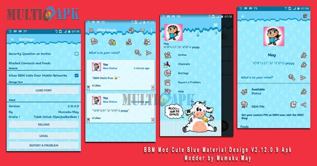 BBM Mod MoOo Cute Blue Material Design