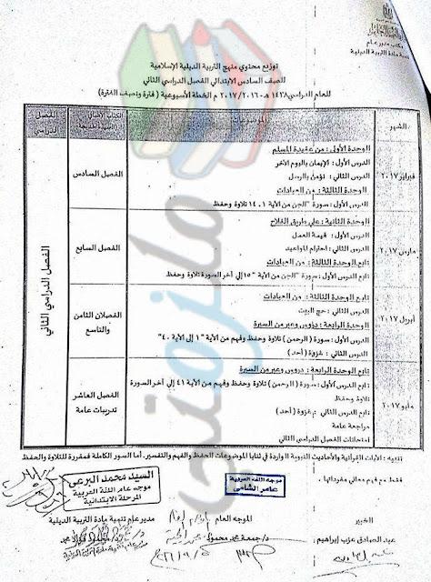 توزيع منهج الدين الاسلامي للصف السادس الإبتدائي 2017