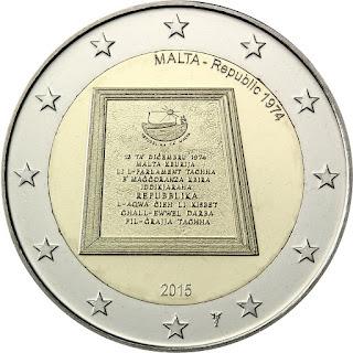 2€ 1974 République 2015 Malte