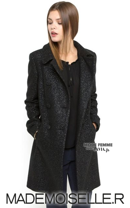 Manteau femme noir en tweed