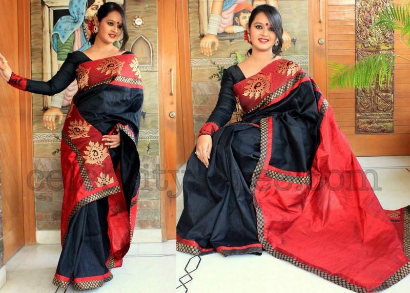 c1b6826525ce1 Black Raw Silk Saree with Brocade Border - Saree Blouse Patterns