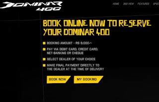 Online Booking Dominar 400 Bike at just Paying Rs 9000/- Only