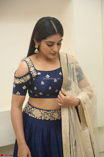 Niveda Thomas in Lovely Blue Cold Shoulder Ghagra Choli Transparent Chunni ~  Exclusive Celebrities Galleries 023