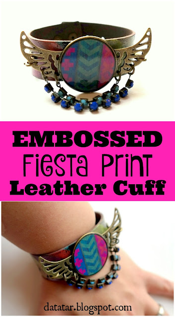 Embossed Fiesta Print Leather Cuff Bracelet Tutorial by Dana Tatar