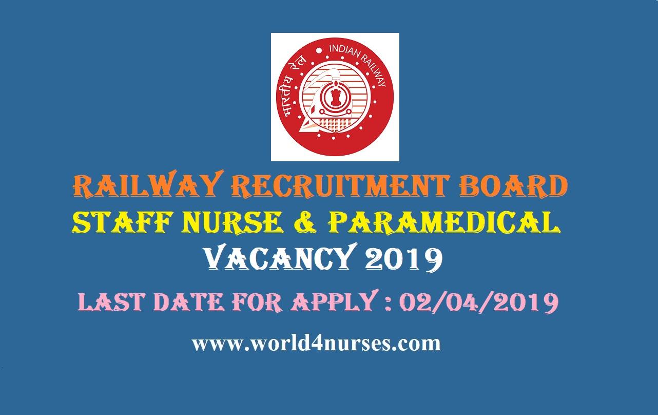 Railway Recruitment Board Staff Nurse & Paramedical Vacancy 2019