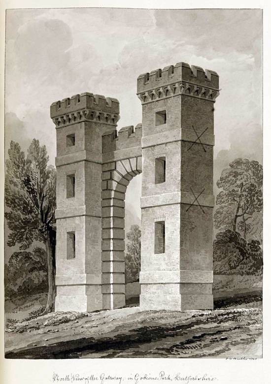 Folly Arch south view 1840 - drawings by Buckler  Image courtesy of the former NMLHS part of the Images of North Mymms Collection
