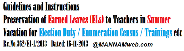 Guidelines and Instructions for Preservation of Earned Leaves (ELs) to Teachers in Summer Vacation for Election Duty / Enumeration Census / Trainings etc., Rc.No.362/E1-1/2013 Dated: 16-11-2013