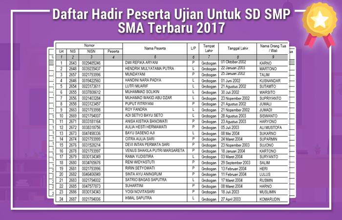 Daftar Hadir Peserta Ujian Untuk SD SMP SMA Terbaru 2017