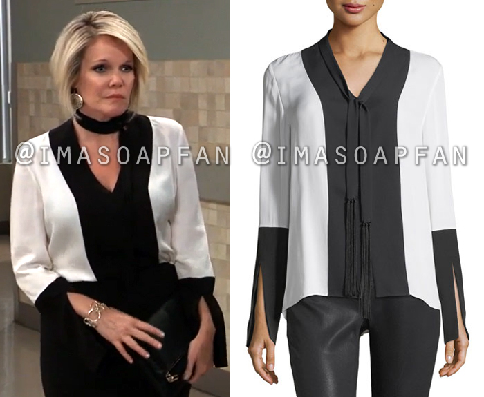 Ava Jerome, Maura West, Black and White Tie-Neck Blouse, Elie Tahari, General Hospital, GH