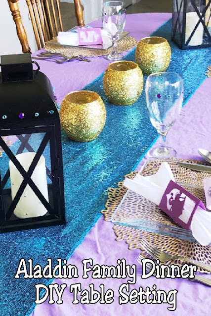 Have some family fun with an Aladdin family dinner. Check out these easy DIY table decorations and ideas to help create a magic table scape. #aladdinparty #dinnerparty #tablescape #tabledecoration #diypartymomblog