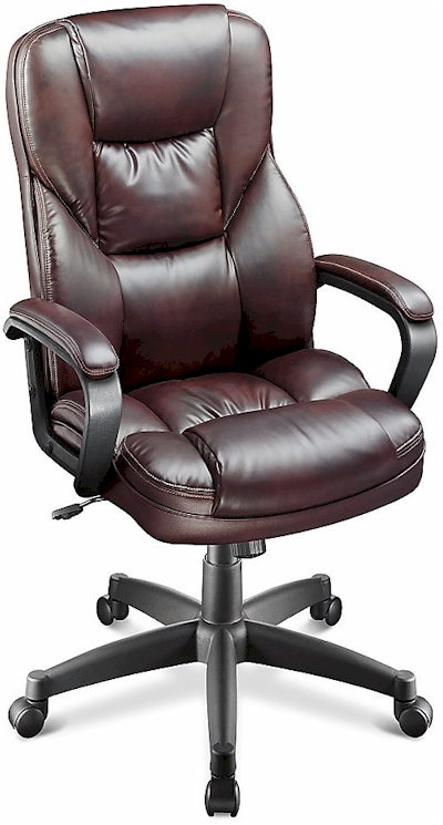 realspace fosner high back bonded leather chair most comfortable recliner daily cheapskate in cabernet or black 69 99 with free shipping