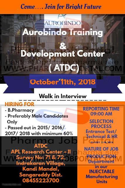 AUROBINDO PHARMA LTD Walk In Interview for B.Pharma-Freshers at 11 October