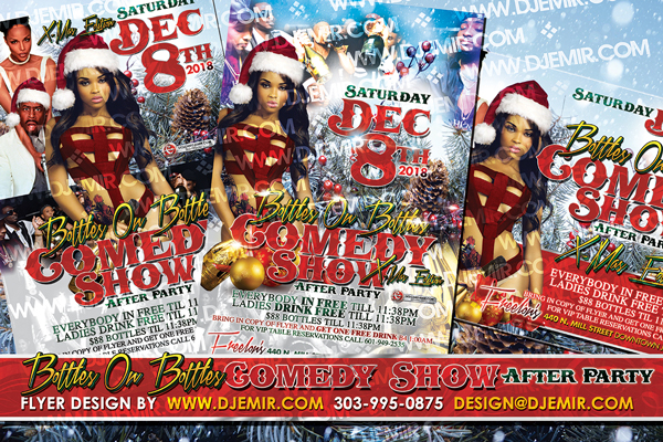 Models and Bottles Christmas Comedy Show After Party Flyer Design With Sexy Santa