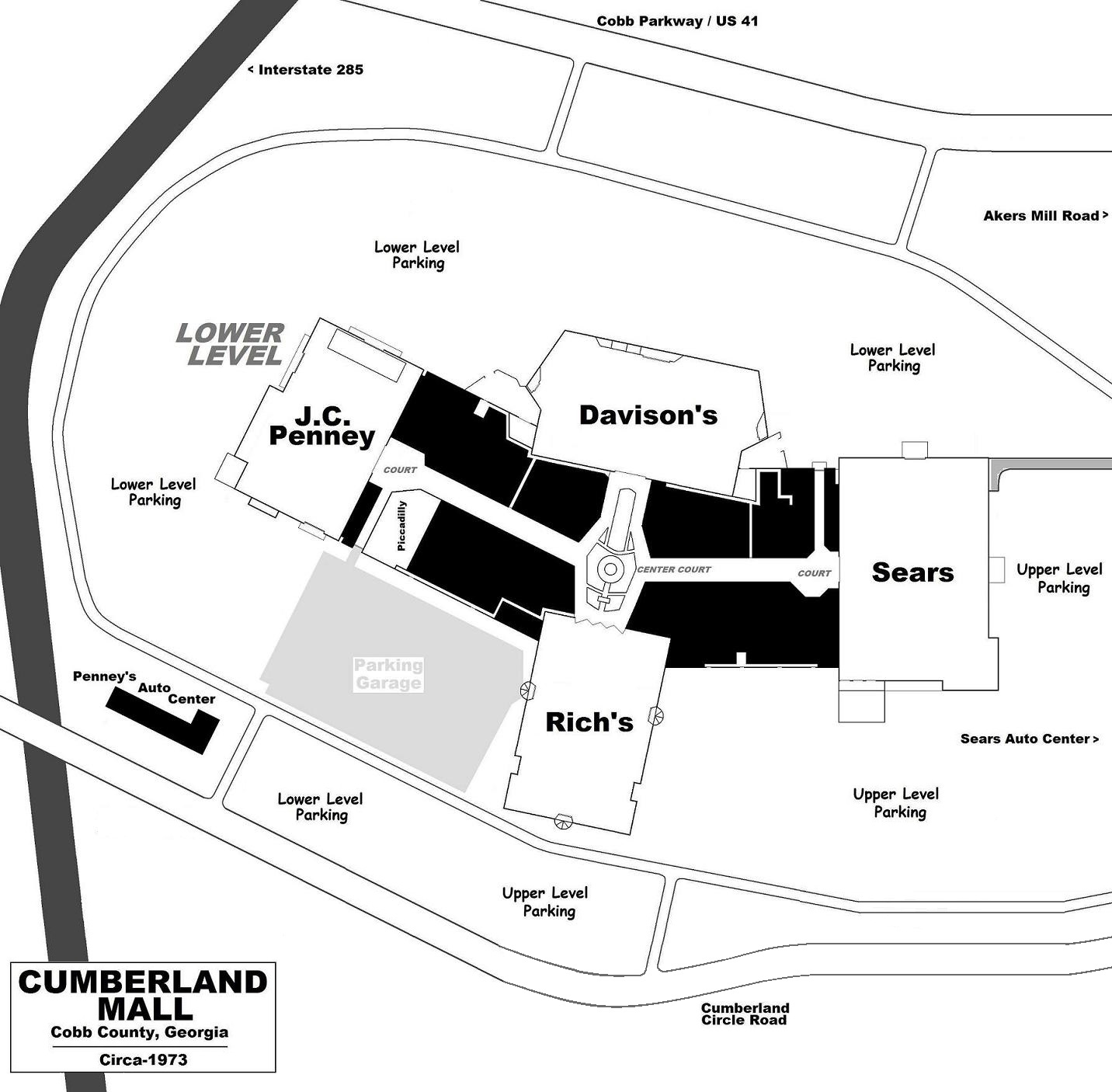 a circa 1973 lower level layout the 1 135 000 square foot complex was greater atlanta s first superregional mall it featured four anchors and contained