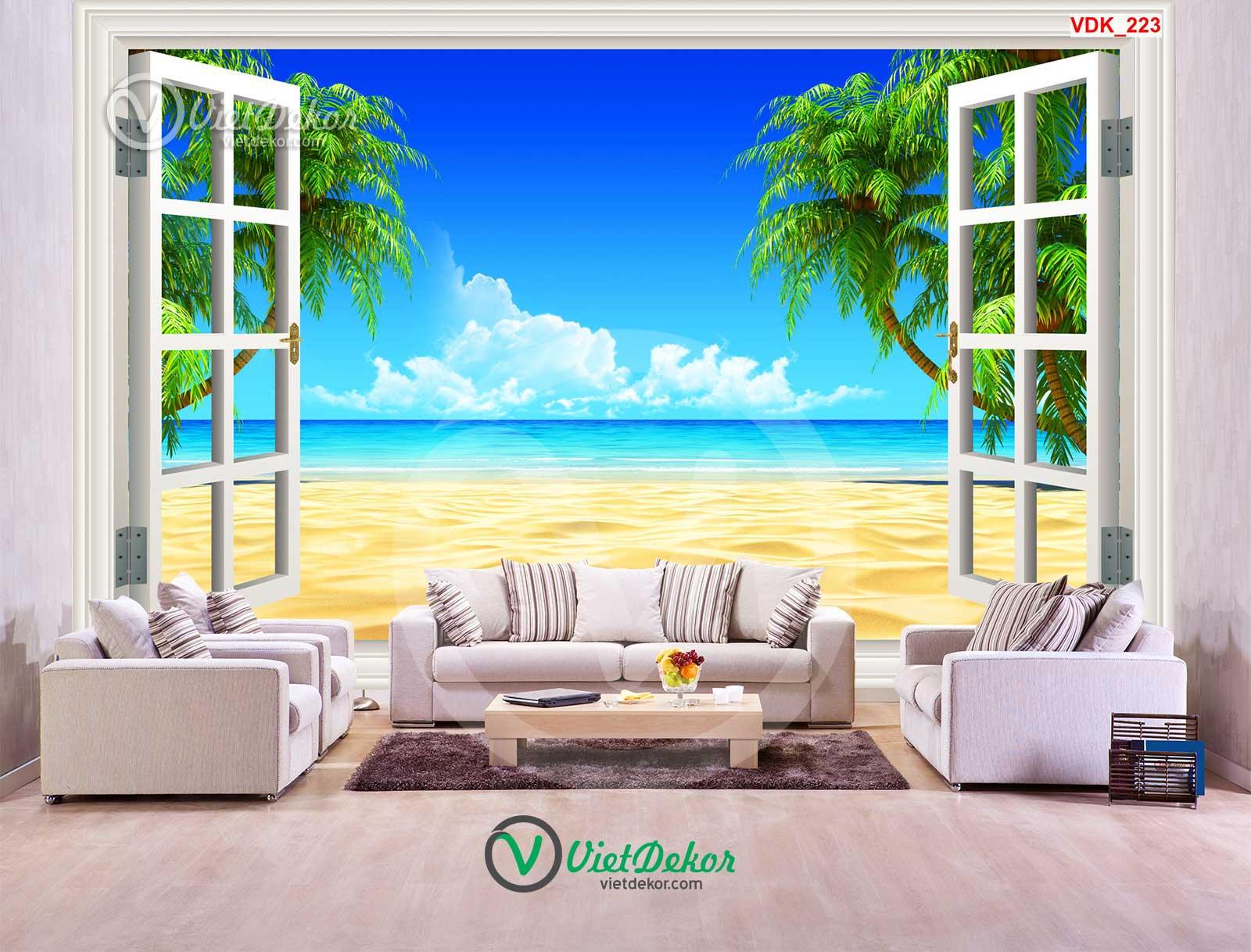 Tranh dán tường 3d phong cảnh biển