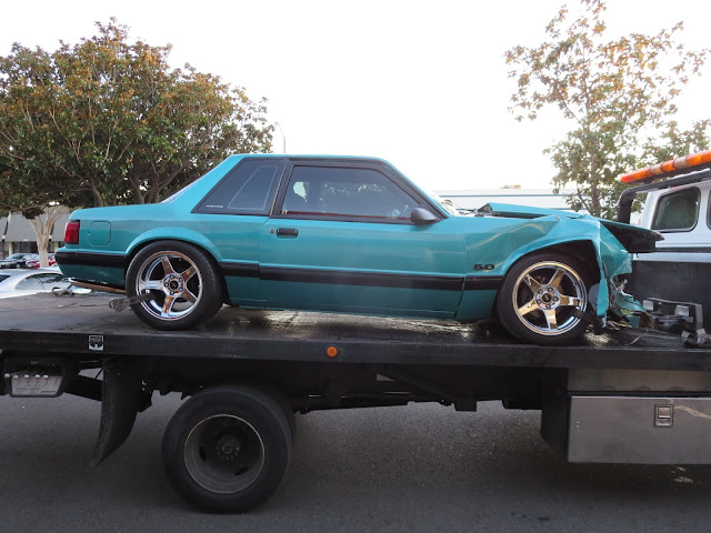 Totaled Ford Mustang GT--frame is sagging and accordioned