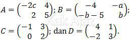 Matriks A, B, C, D, operasi matriks Matematika UN 2017