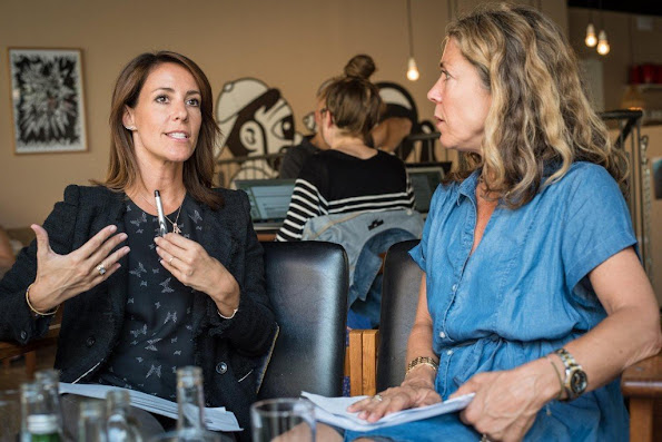 Princess Marie of Denmark attended a working meeting for the DanChurchAid at Cafe Nutid