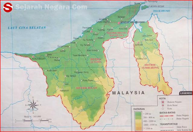 Peta dataran dan perairan sanggup anda lihat pada kotak LEGENDA berupa angka yang tertera Peta Negara Brunei Darussalam 2019
