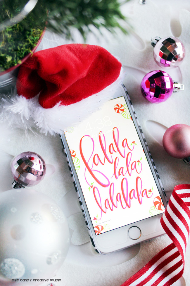 christmas time, santa hat, christmas cell wallpaper, freebie, lettering