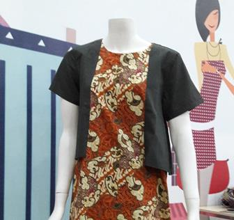 Baju Batik Kombinasi Polos