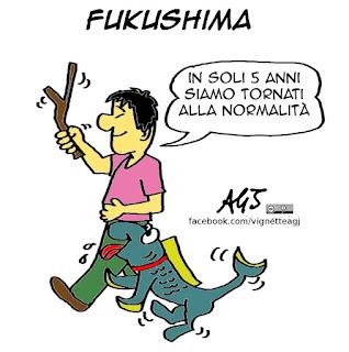 fukushima, energia nucleare, progresso, vignetta satira