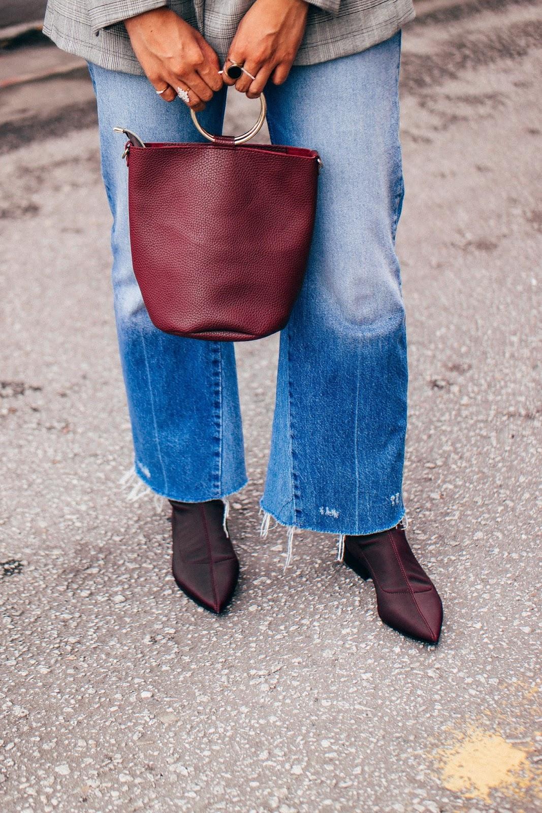 Zara Burgundy Flat Boots