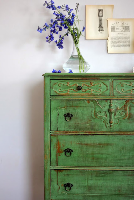 milk paint, ofmp, painted dresser, green,