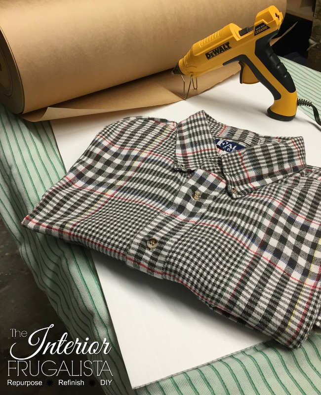 Men's Flannel Shirt To Line Wooden Trunk Table