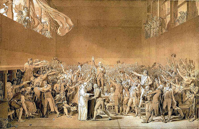 Painting of the Tennis Court Oath by Jacques-Louis David, 1791