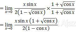 Mengalikan bilangan sekawan dari 1 - akar cos x