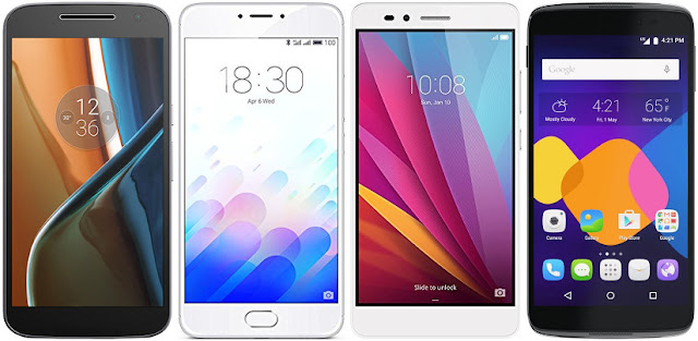 Motorola Moto G4 vs Meizu M3 Note vs Honor 5X vs Alcatel Onetouch Idol 3 (5.5)