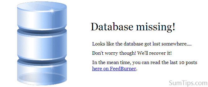 wordpress database error template