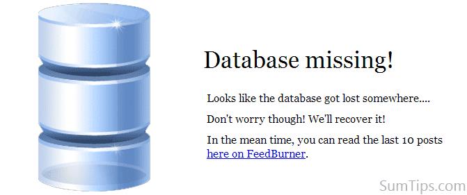 wordpress database error template