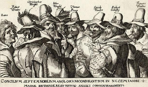 Engraving of the Gunpowder Plot conspirators, 1605