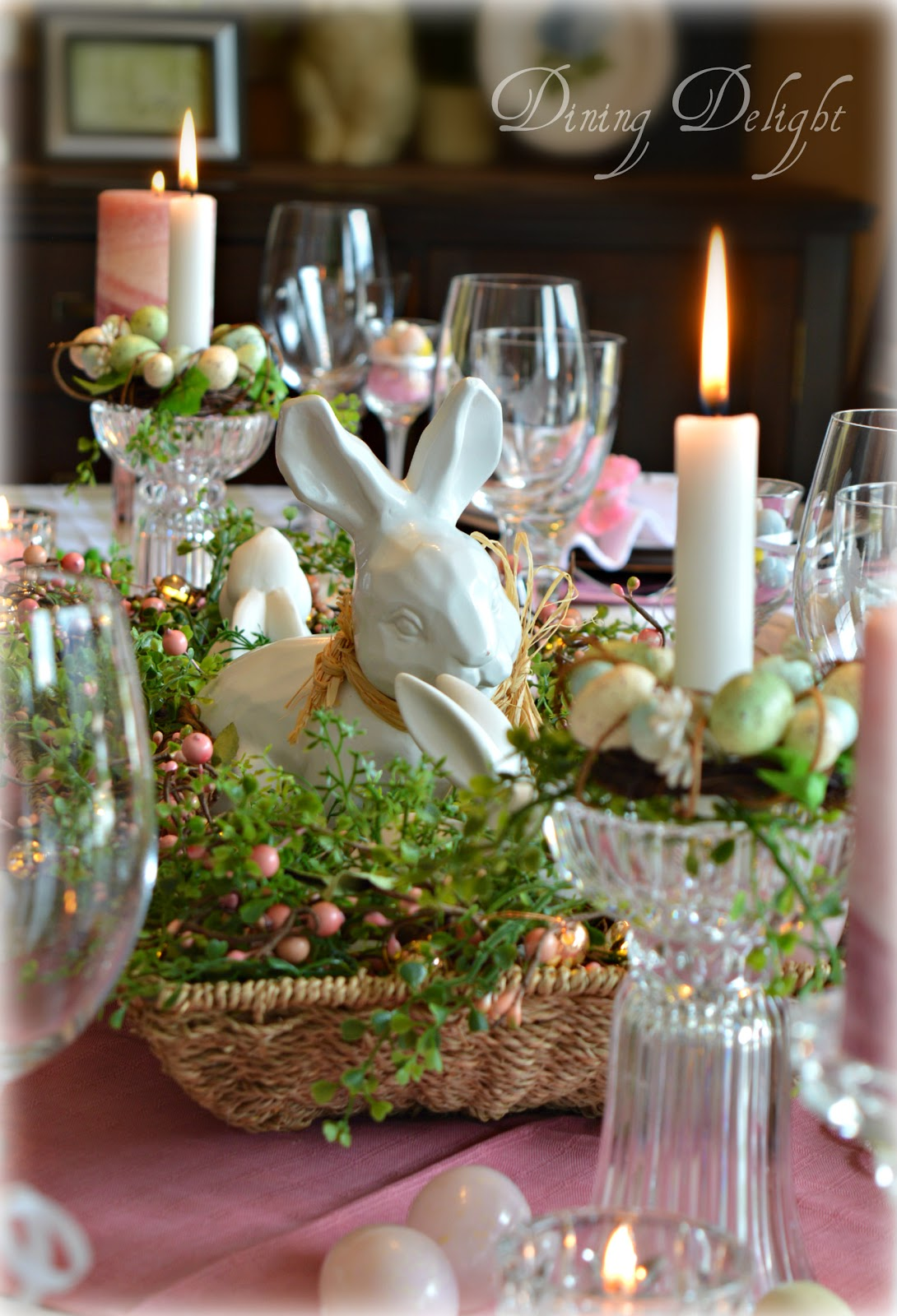 Dining Delight Pink Amp White Easter Tablescape