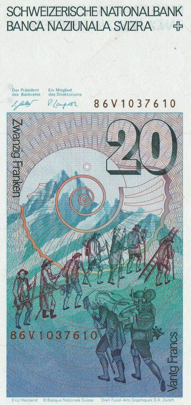 Banknotes of Switzerland 20 Swiss Franc note, Alpinists in the Swiss Alps