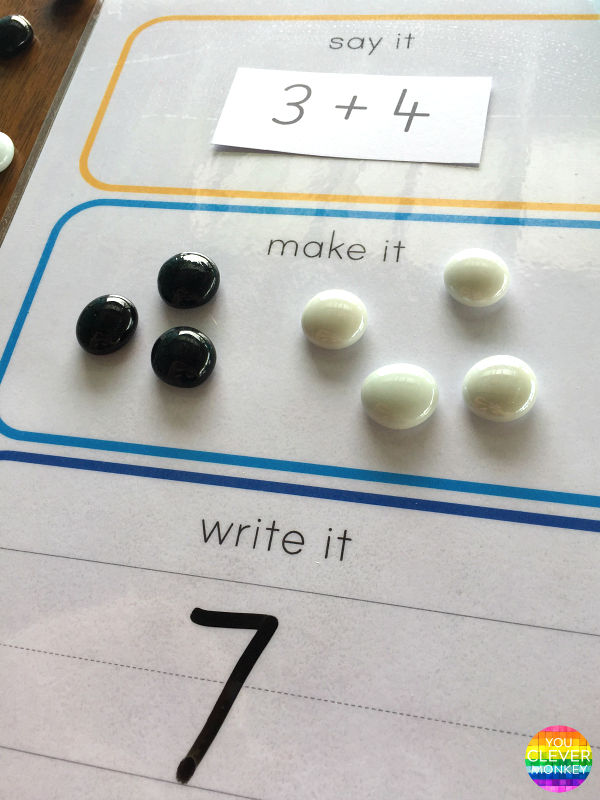Say It Make It Write It For Maths - how to use this FREE printable for simple addition using loose parts | you clever monkey