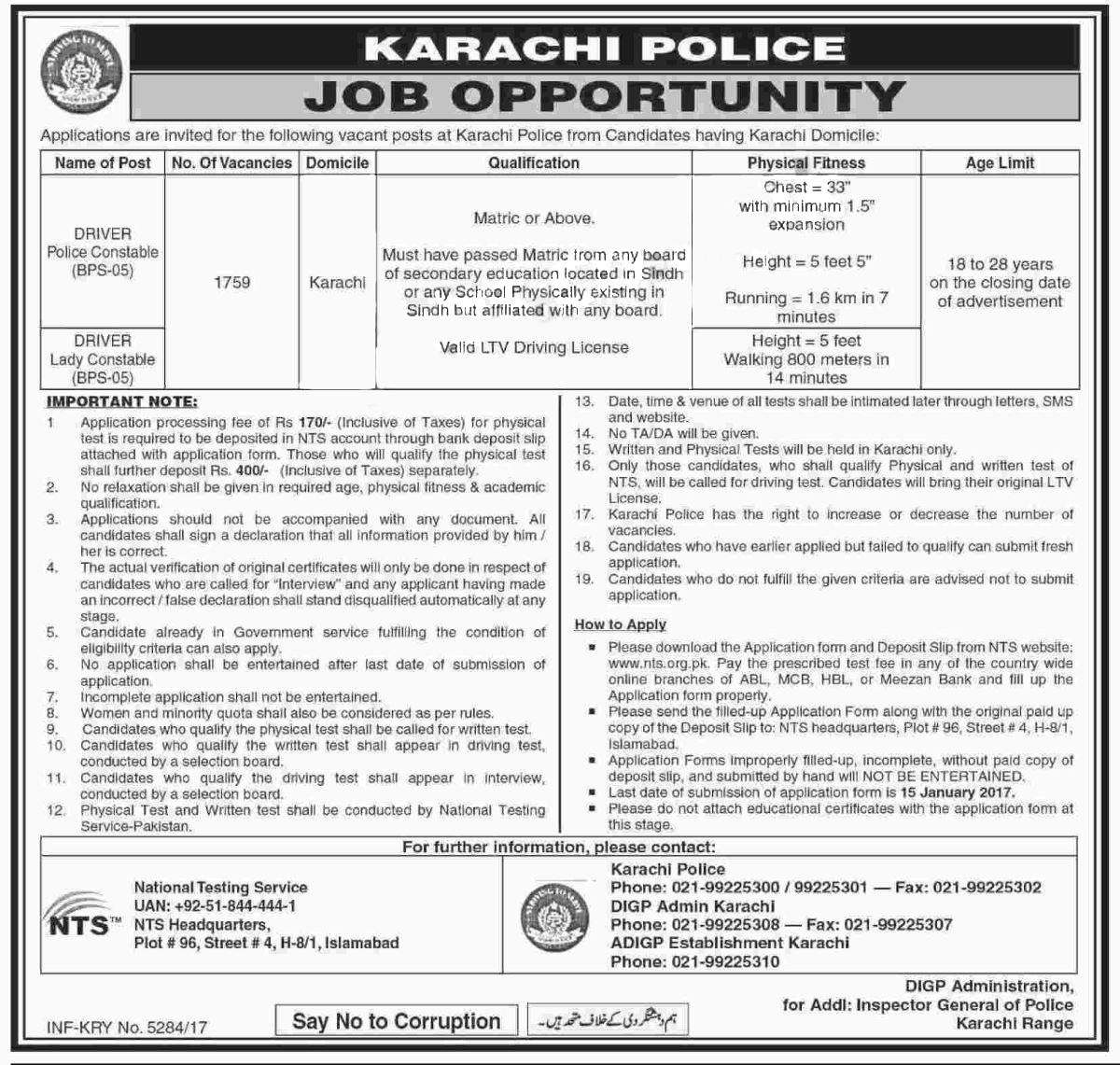 Karachi Police Jobs 2018