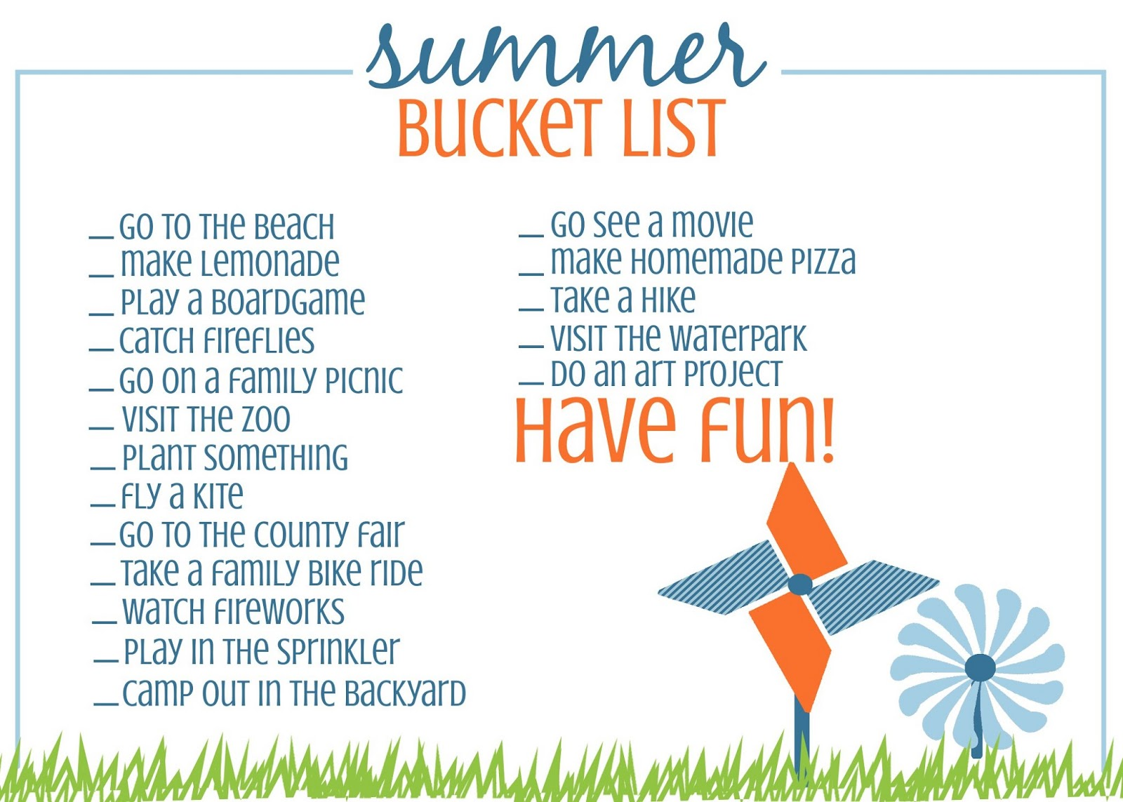 Printable Summer Bucket List A Fun Kid Idea