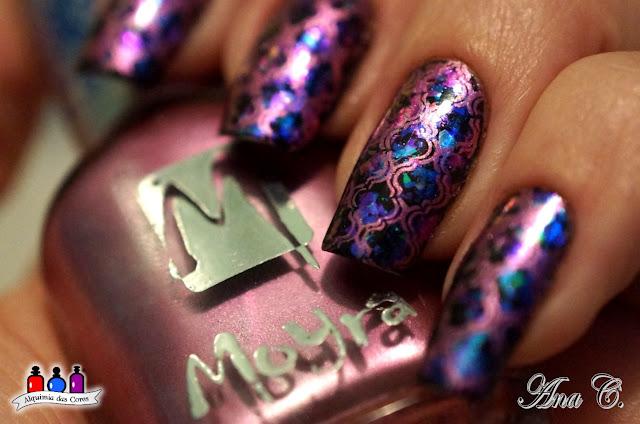 DRK Nails, flocado verde roxo, flocado mutichrome, moyou london, moyou arabesque
